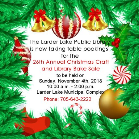 26th Annual Christmas Craft and Library Bake Sale graphic