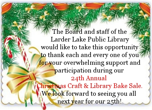 Annual Craft Fair at the Larder Lake Public Library